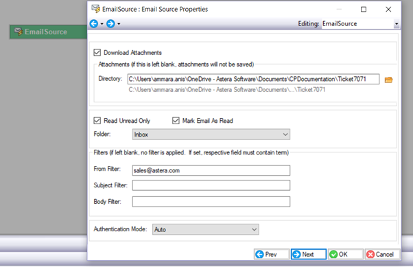 How to use Email Source Object in a Report Model – Astera